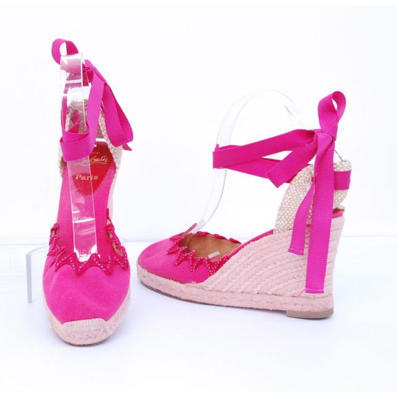 Womens CHRISTIAN LOUBOUTIN Pink Canvas Espadrille Wedges Tie Up Shoes Size 10/ 40