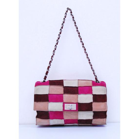 Authentic CHANEL Tan/Burgundy Patchwork Suede Mademoiselle Flap Shoulder Handbag