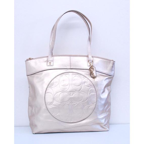 Authentic COACH Gold Metallic Leather Tote Shoulder Handbag Bag