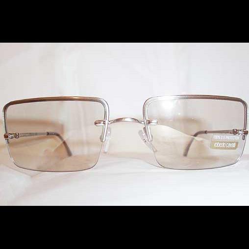 Roberto Cavalli Diodoro Metal-Framed Rectangular Lens Sunglasses NEW