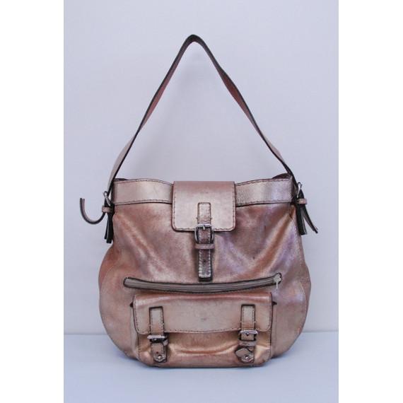 Authentic CHLOE Metallic Leather Front Pockets Shoulder Handbag Purse Bag