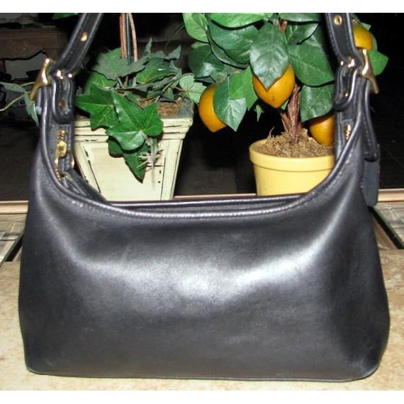 Coach Black Leather Vintage Shoulder Bag Designer Women's Handbag