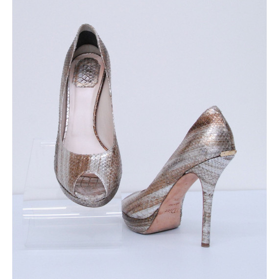 Womens CHRISTIAN DIOR Snakeskin Gold Silver Leather Pump Shoes Size 9.5/39.5
