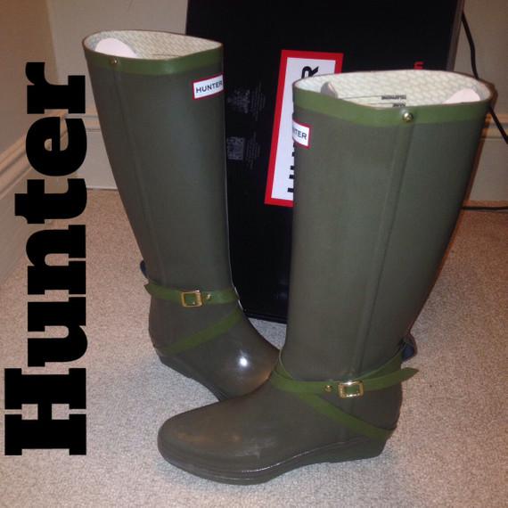 Hunter Rainboots Andora Olive Green Sz 9