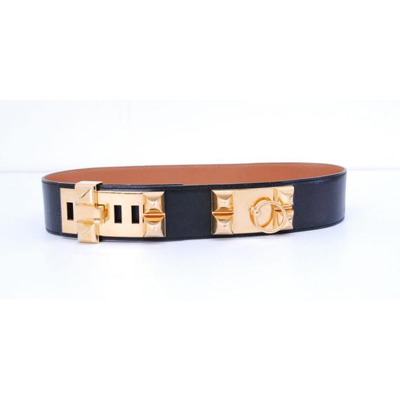 Authentic HERMES Black Calf Leather COLLIER DE CHIEN Gold Plated Belt Size 68