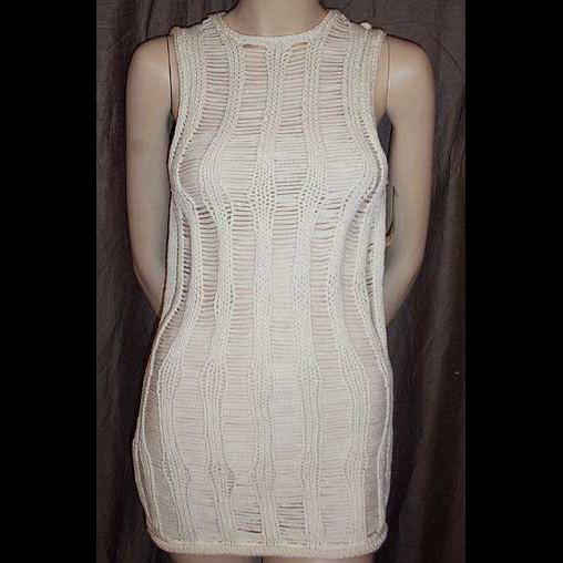 Calvin Klein Collection Cream Peek-A-Boo Open Knit Sleeveless Top M NWT