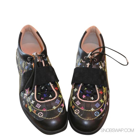 LOUIS VUITTON Womens Black Leather Monogram Multi-color Sneaker Trainer 11-41
