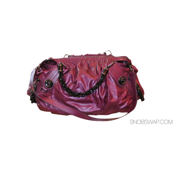 RUNWAY GALAXY GUCCI  METALLIC MAGENTA LEATHER SATCHEL DOUBLE HANDLES INTERLOCKING G DETAIL