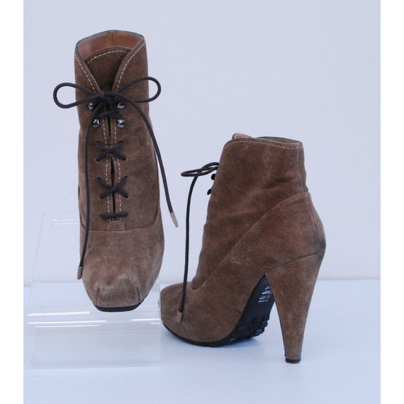 Womens PROENZA SCHOULER Brown Suede SNUBNOSE Ankle Boots Heels Shoes Size 7/37