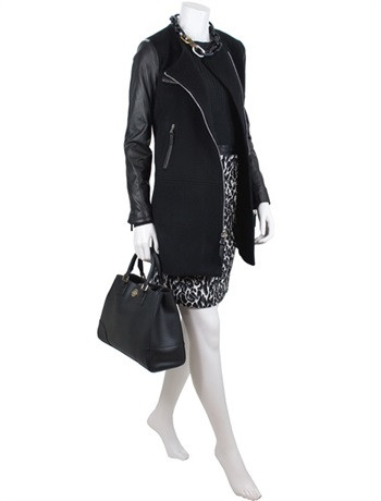 Milly Leather Sleeves Coat 2