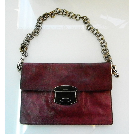 Prada Red Leather Wristlet Bag