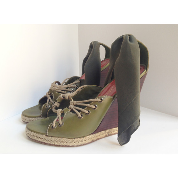 Yves Saint Laurent Moss Green Platform Sandals with Silk Ankle Ties