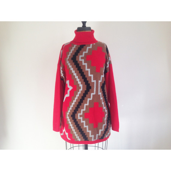 Red Navaho Cashmere Turtleneck Sweater