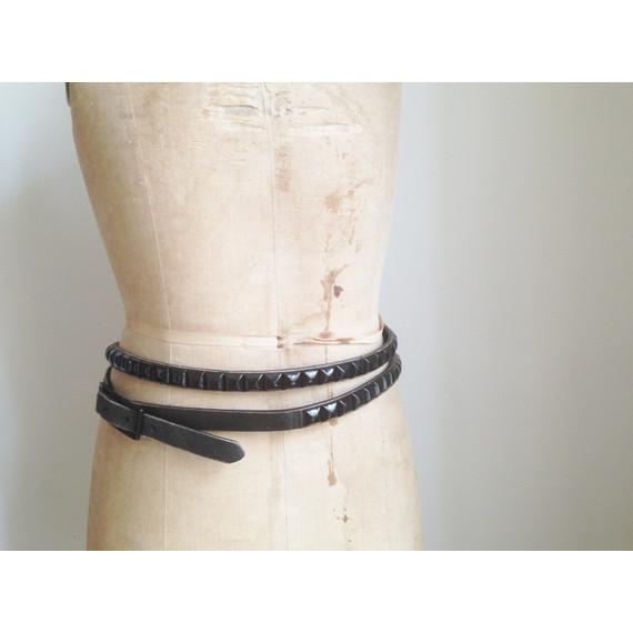 Barney's Leather Black Studded Double Wrap Belt - SM