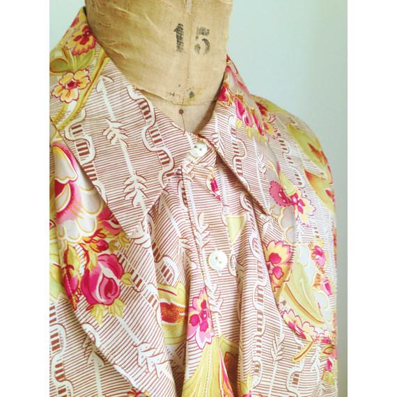 Oscar de la Renta Ruffled Silk Floral Women's Blouse