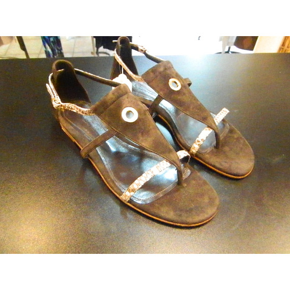 Loro Piana Brown Suede Leather & Python Sandals