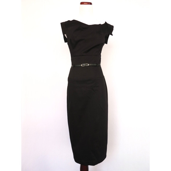Black Halo black dress with belt