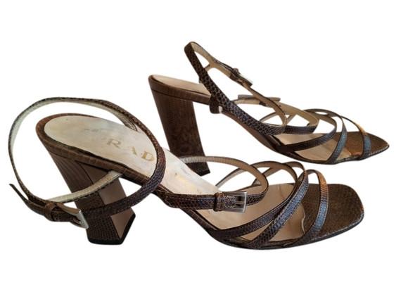 PRADA Brown Snake Skin Strappy Heels