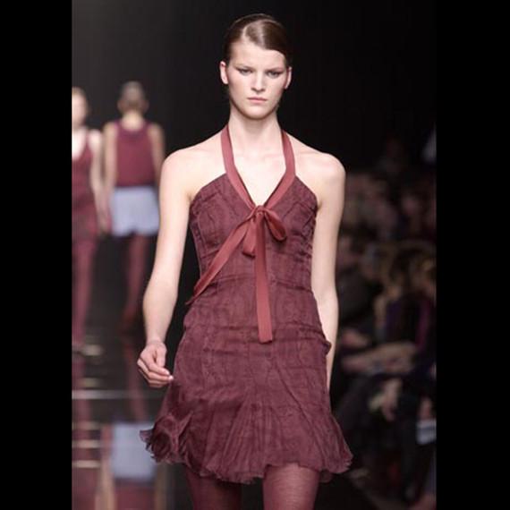 Alberta Ferretti Plum Floral Silk Chiffon Boned Halter Dress 40IT 6/8 NWT
