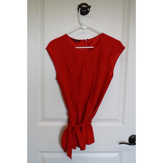 Lafayette 148 matte red silk Jacinta top, 6