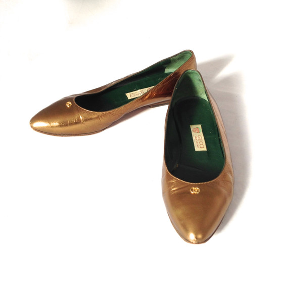 Gucci Bronze Metallic Leather Flats