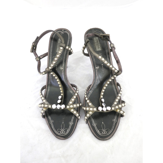 Prada Pewter Studded Sandals
