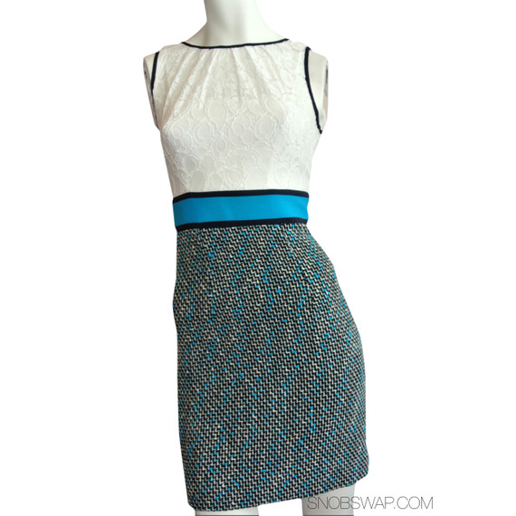 NWT Milly of NY tweed aqua off-white & black lace dress $395