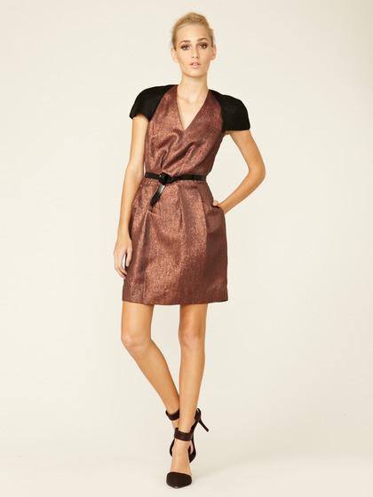 3.1 Phillip Lim Metallic Belted V Neck Dress