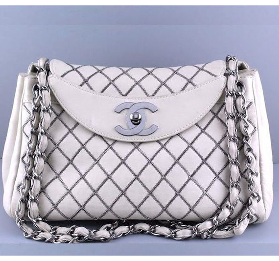 Chanel Taupe-Ivory Luxe Microchain Quilted Jumbo Flap Bag