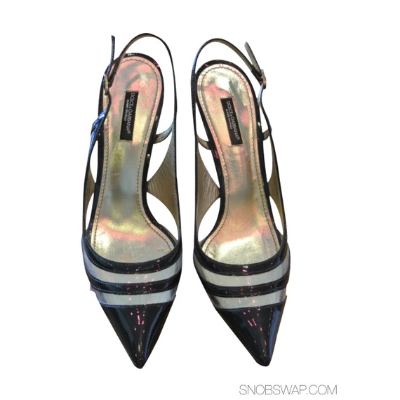 Authentic Dolce & Gabbana Modern Cutout Black Strappy Heels EUC