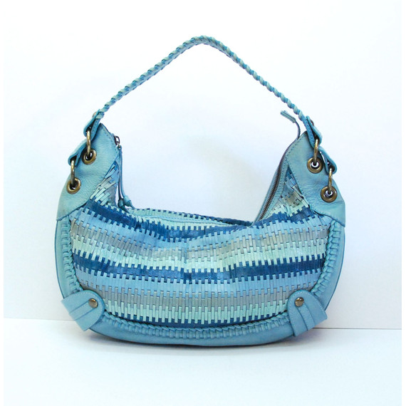 Authentic ISABELLA FIORE Blue/ Green Woven Leather Hobo Shoulder Handbag Purse
