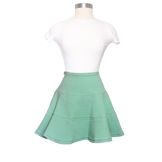 See By Chloe Green Knit Skater Skirt