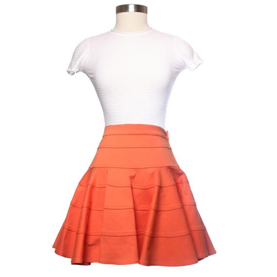 See By Chloe Orange Knit Skater Skirt