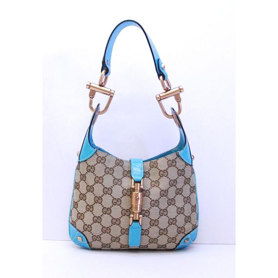 Authentic GUCCI GG Brown Canvas w/ Blue Leather Shoulder Handbag Purse Bag
