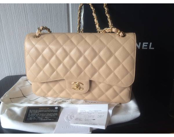 100% AUTHENTIC beige Chanel classic with silver hardware