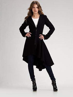 NANETTE LEPORE Black Asymmetrical Wool Coat