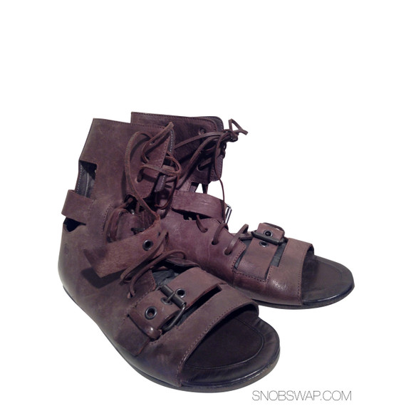 Marsell brown open toe ankle bootie sandal