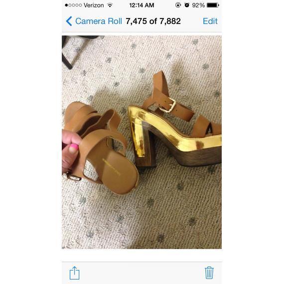 Diane Von Furstenberg brand new still tags platform tan heels 7 and a half