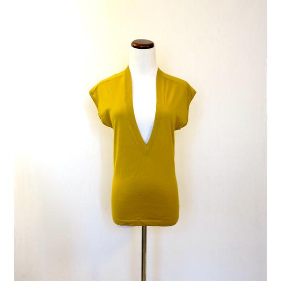 Theory Mustard Deep V-neck Knit Sweater