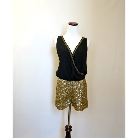 Hommage Black and Gold Sequined Romper