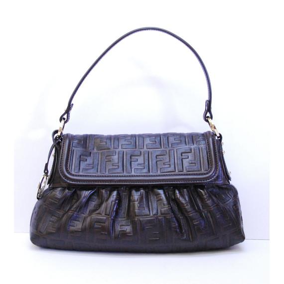 Authentic FENDI Brown Leather FF Zucca CHEF Shoulder Bag Handbag Purse Bag