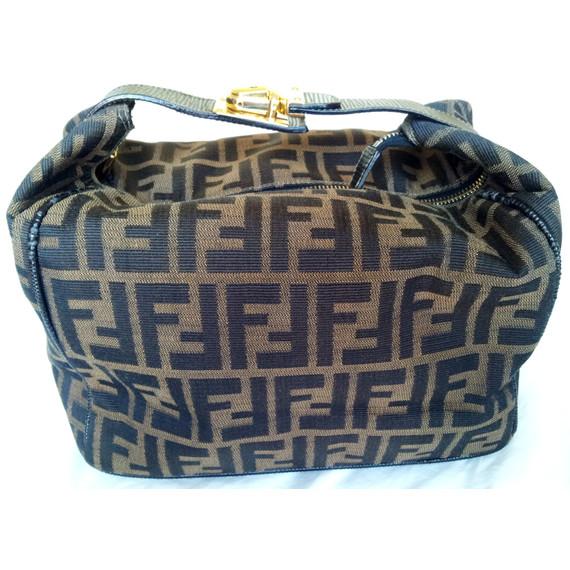 Authentic FENDI Zucca Print Brown Hand Bag
