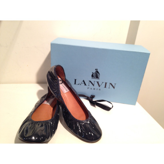 Lanvin Navy Patent Classic Flat