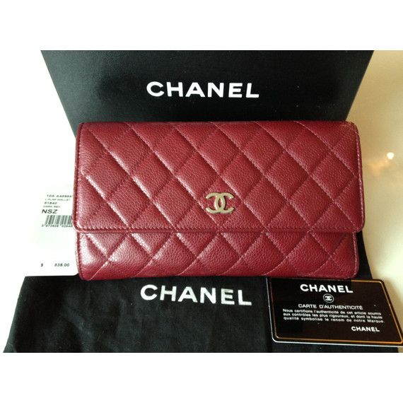 CHANEL Large Flap Wallet in Dark Red