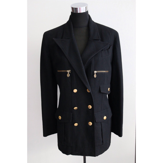 AUTHENTIC CHANEL BLAZER JACKET BLACK WOOL CHANEL PARIS BUTTONS CC ZIPPER LOGO SZ FR 40