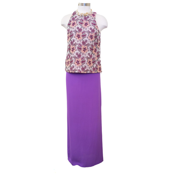 Alice + Olivia Maxi Skirt, size 8, purple silk maxi, $119, LIKE NEW