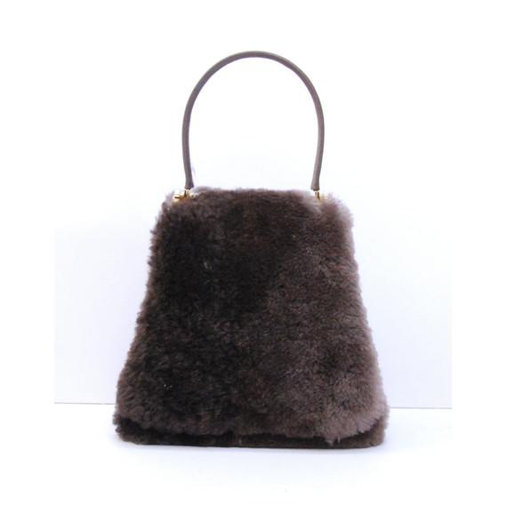 Authentic JUDITH LEIBER Brown Rabbit Fur Flap Front Handbag Purse Bag