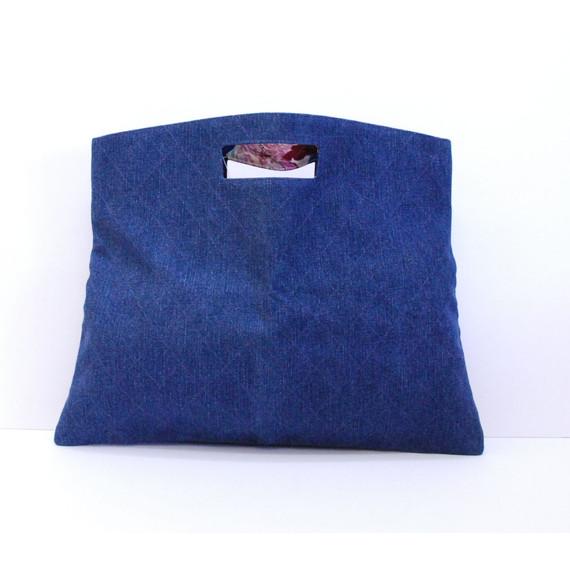 Authentic CHANEL Blue Denim Clutch Handbag Purse Bag