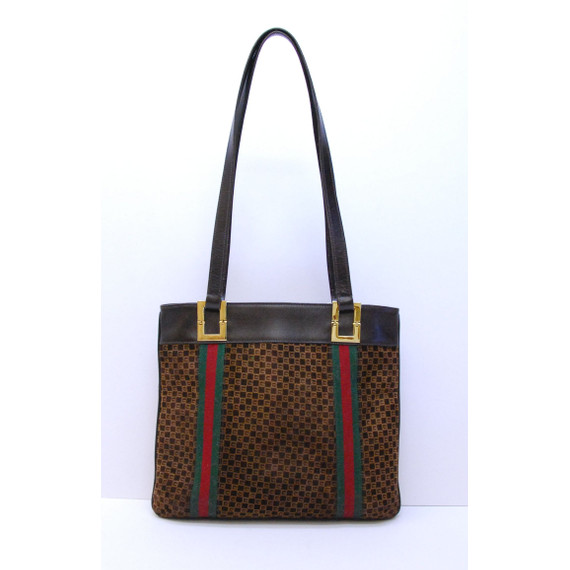 Authentic VINTAGE GUCCI Brown GG Suede Shoulder Handbag Purse Tote Bag