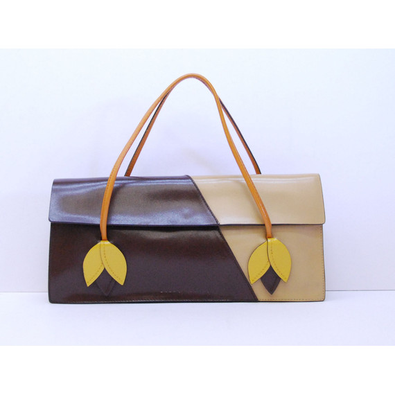 Authentic MIU MIU Brown Tan Leather w/ Flower Cut Outs Handbag Purse Bag